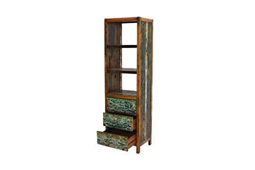 Ploß Unikat: Großes Bücherregal mit 3 Schubläden und 2 Zwischenböden ausTeak-Holz recycelter Fischerboote mit Originalresten Alter Schiffsfarbe