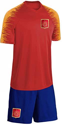 Blackshirt Company Spanien Trikot Set Kinder Fußball Fan Zweiteiler Rot Blau Größe 140