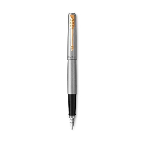 Penna stilografica Parker Jotter, acciaio inox con finiture in oro, pennino medio, inchiostro blu, confezione regalo inclusa