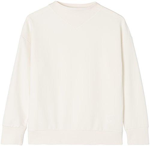 FIND Damen Hochgeschlossenes Sweatshirt mit Feinrippeinsatz Elfenbein (Ivory), 36 (Herstellergröße: Small)