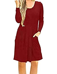 Vestido para Mujer Mujer ,BBestseller Mujer Vestido Blusa de Solapa Casual para Mujer Vestido Largo de Manga Larga con Escote en O y Escote en…