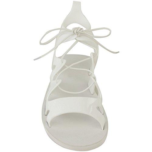 Donna Bassa Con Lacci Jelly Sandali Altezza Caviglia Gladiatore Taglia Scarpe Estative Bianco Plastica Colorata
