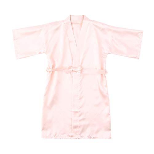 Cuteelf Mädchen-Pyjama-Kleinkind-Baby-Kind-Mädchen-Feste Silk Satin-Kimono-Robe Yukata-Pyjama-Kleidung-Kinderhülse Normallack-Spitze-dünner Strickjacken-Robebademantel