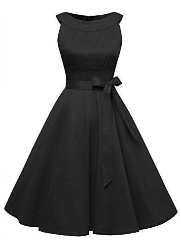 Timormode Vestido Corto De Fiesta Vintage Color Sólido Sencillo Y Elegante Rockabilly Mujer Negro L
