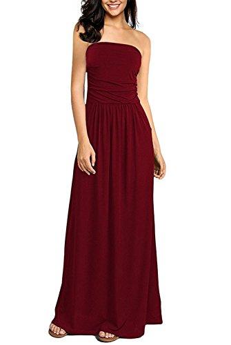 Carinacoco donna vestiti floreale casuale abito senza spalline lungo abiti vestito da matrimonio banchetto sera (s, 16)