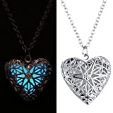 #2: Glow In Dark Heart Shape Silver Plated Pendant Necklace with Chain