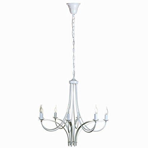 Acht Arm Kronleuchter (Eurowebb Kronleuchter mit 8Arm Farbe weiß-Lampen und Federung, Deckenleuchte Dekoration originelle Haus)
