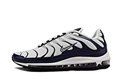 NIKE Men's Air Max 97 Wolf Grey/Metallic Silver/Midnight Navy Nylon Running Shoes 8 D(M) US