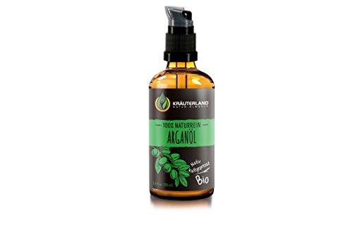 Kräuterland Arganöl, Bio Hautöl, 100ml, kaltgepresst, vegan, 100% naturrein aus Marokko, für Gesichts-, Bart-, Haar- und Körperpflege, Massageöl, für trockene Haut, Naturkosmetik (Arganöl 100ml) -