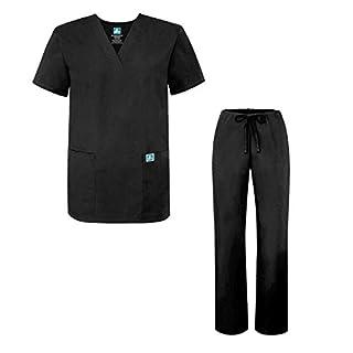 ADAR UNIFORMS Scrub Set for Men – Medical Uniform with Top and Pants, Color BLK | Size: M