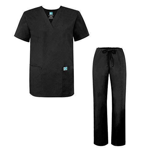Medical Scrubs Und Uniformen (Adar Mens Medical Scrubs Set Medical Uniforms - Roomy Fit - 701 - Blk -M)
