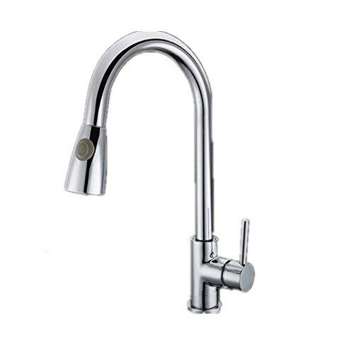MNII ottone monocomando alta Arc Pull Down rubinetto della cucina con retrattile Pull Out (Pull Down Wand)