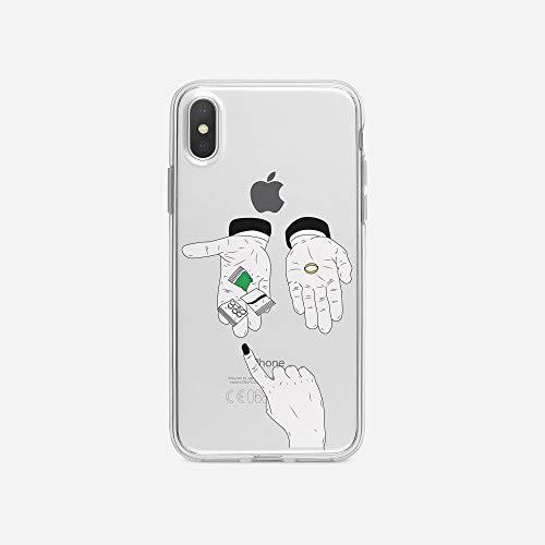 licaso iPhone X IPX Handyhülle TPU mit Drugs or Wedding Ring Print Motiv - Transparent Cover Schutz Hülle Aufdruck Lustig Funny Druck