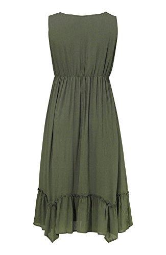 holidaysuitcase 16-30 noire RU ou kaki grande taille pour femmes brodé vacances dété plage robe Kaki