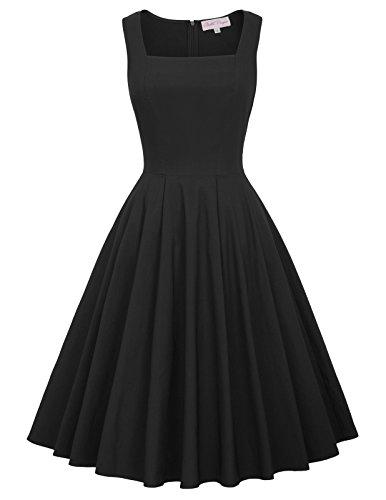 audrey hepburn kleid schwarz festliche kleider damen petticoat kleid L BP436-1 (Nylon Petticoats)