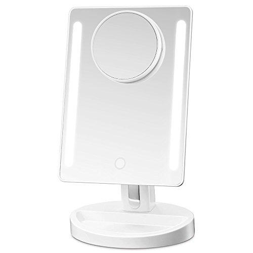 Gotofine specchio da trucco vanity con luci a led e touch screen, specchio ingranditore ad angolo 1x&10x, regolabile da 3,5 pollici per la bellezza, cosmetica, rasatura