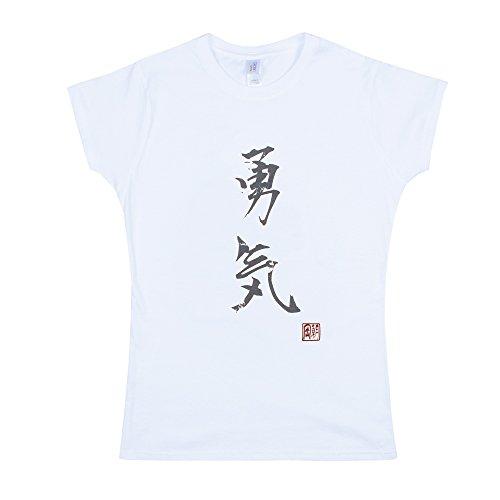 Strand Clothing Japonais pour Homme - Yuki/Courage - Calligraphie Japonaise Imprimé pour Femme pour Femme T pour Homme - Blanc - Blanc - Medium