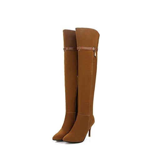 VogueZone009 Donna Tacco Alto Puro Scarpe A Punta Cerniera Stivali con Metallo Giallo