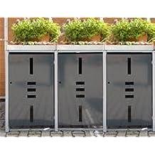 Mülltonnenbox Metall für 3 Mülltonnen mit Pflanzwanne anthrazit …