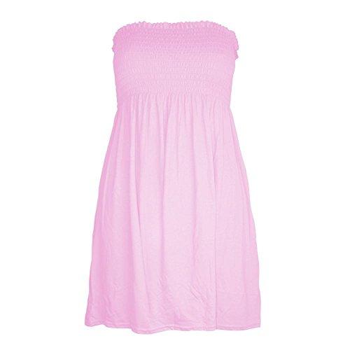 Janisramone delle signore delle donne più il formato Sheering Boobtube a fascia senza spalline Top Vest Dress 8 22 Baby rosa