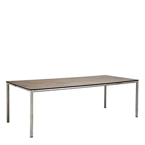 GARPA Portland Edelstahl Tisch 220 x 100 Tischplatte Kunstharz Graubraun