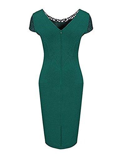 Whoinshop Damen Elegant Rose Rundhals Spitze Stitching Kleid Business Etui Partykleid Festkleid Cocktailkleid Grün