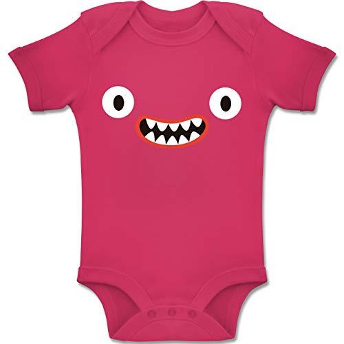 Shirtracer Karneval und Fasching Baby - Monster Kostüm Reißzähne - 3-6 Monate - Fuchsia - BZ10 - Baby Body Kurzarm Jungen Mädchen