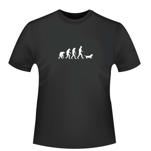 Dackel Evolution, Herren T-Shirt - Fairtrade, Größe XXL, schwarz (Herren Bio T-shirt Dackel)