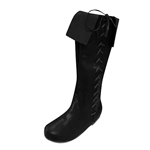 Sunnywill Stiefel Damen Schwarz Leder Mit Absatz Schuhe Elegant Herbst Boots Blockabsatz Flats Round Toe Schnürung Over The Knee Western Knight High Riding -