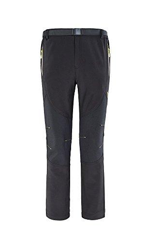 UDAREIT Herren Winddicht Outdoor Mountain Hiking Pants Wasser Resist Fleece Arbeit Cargo Pants Snow Ski Asia X-Large(Waist:31-33inch) Schwarz -