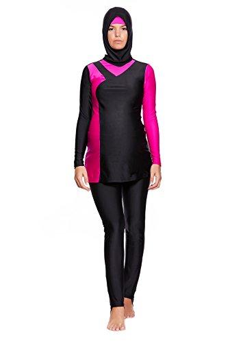 4 tlg. Muslimischer Umstandsbadeanzug Schwangerschaft Burkini / Hamile / Islamische Badebekleidung Tesettür mit Hijab f5443 Farbe: Schwarz/Pink BU2(sw-pi), Gr. 38 (M)