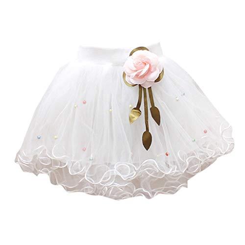 YWLINK MäDchen Zeigen Tanz Party Blume Prinzessin Mesh Karneval Minirock Mit Perlen Elastische Taille Tutu Rock (Weiß,6)