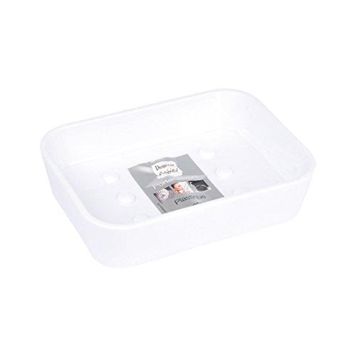 Douceur d'Intérieur 6ASB225BC Porte Savon Effet Soft Touch Blanc 12 x 9 x 3 cm