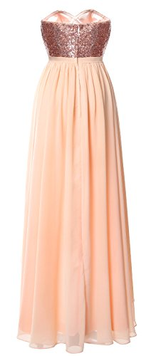 MACloth Gorgeous Hi Lo Bridesmaid Dress Sequin Chiffon Wedding Party Formal Gown Red-Ivory