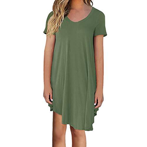 VEMOW Damenmode Tasche Lose Kleid Damen Rundhalsausschnitt beiläufige Tägliche Lange Tops Kleid Plus Größe(Z1-Grün, ()