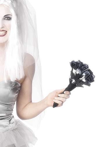 Schwarz Kostüm Braut - Smiffys Damen Leichen Rosen Brautstrauß, Rosen, 28008