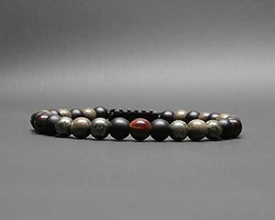 Bracelet homme, pierres gemmes, œil de tigre rouge, pyrite, onyx, perles de bois gris Ø 6 mm