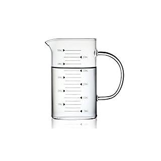 AsentechUK® High Borosilicate Food Grade Transparent Glass Measuring Jug Milk Cup Water Pitcher Kettle (500ml)
