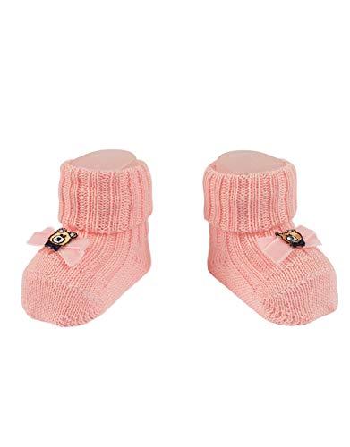 CALZITALY Baby Schuhen mit Teddy Bear   Socken aus Wolle Kleinkind mit Bär und Schleife   Rosa   Einheitsgröße 0-24 Monate   Made in Italy (Socke Teddy-bär Mit)