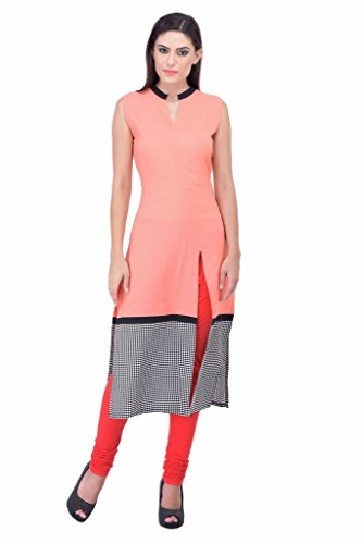Ramya Women'S Pink Front Slit Cut Sleeve Less Kurti (RM-115K_Pink_2XLarge) (RM-115K_Pink_2XLarge)  available at amazon for Rs.420