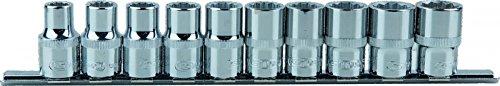 KS Tools 9180655 Chrome + douilles, 12 pans, 10 pièces 10 mm/19 mm 1/2/1,27 cm