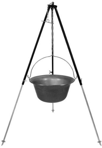 Set Gulaschkessel Dreibein mit 15 Liter Gulaschtopf aus Eisen (15l ungarischer Feuertopf Kesselgulasch Topf Kessel Feuerkessel)