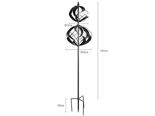 HAFIX Windrad Metall Windspiel Metallwindrad Doppelwindrad Gartendeko rund Wind Mühle mit Erdspieß - 2