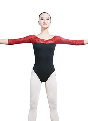 ZKOO Damen Body Einteiler Bodysuit Jumpsuits Gymnastikanzug Top Dancewear Rot 2XL (Günstige Ballett Tanz Kostüme)
