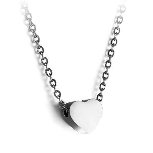JewelryWe Schmuck Damen Kette mit Herz Anhänger Silber | Edelstahl Halskette Modeschmuck Frauen Mädchen nickelfrei, kostenlos Gravur