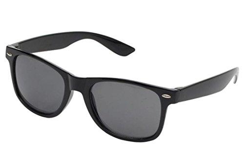 Klassische schwarze Sonnenbrille im Wayfarer Clubmaster Design UV 400 - Unisex: Damen & Herren - Nicht polarisiert / verspiegelt | Retro, Nerd Look