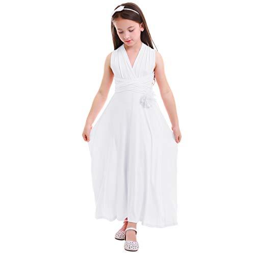ff9dbf4693 OBEEII Vestido Elegante Niña Sin Manga Vestidos de Niña de Fiesta Largo  Multi Way Bandage Ropa