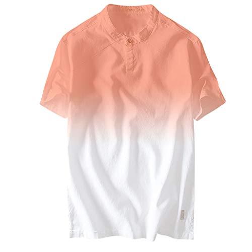 bügelleicht bügelfrei urlaub strand hawaiihemd kurzarm modischem druck leinenhemd aus baumwollmischung men´s hemden button down stehkragen einfarbig reine farbe super modern