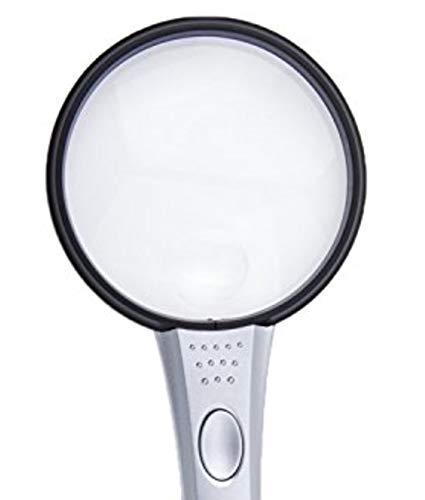Qualität Vergrößerungsglas mit Licht beleuchtet Lupe Extra Groß Sichtglas Hand Held Lupe mit Beleuchtung 2x & 4x Dual Objektiv Vergrößerung & LED-Lampe Lesehilfe Sehbehinderten 108mm -