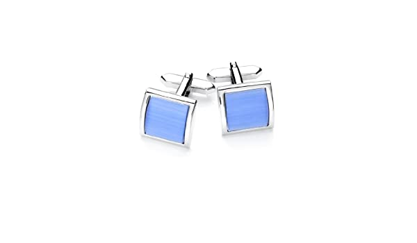 Rectangular Design with Sodalite Gemstone-Inlay in Contrast Colour Vincenzo Boretti Mens Cuff-Links in Handy Box Silver//Blue Rhodium Plated
